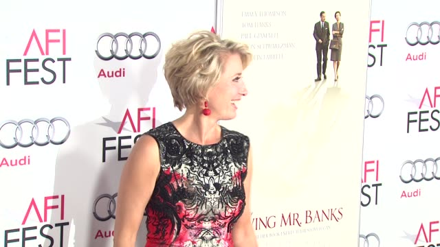 emma thompson at afi fest 2013 opening night gala premiere of disney's saving mr banks in hollywood ca on - emma thompson stock videos and b-roll footage