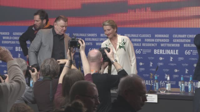emma thompson brendan gleeson at 'alone in berlin' press conference 66th berlin international film festival at grand hyatt hotel on february 15 2016... - emma thompson stock videos and b-roll footage