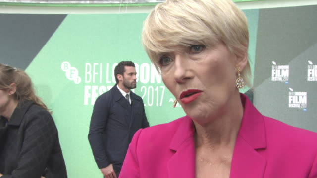 interview emma thompson on having an artistic family what actors used to be like on dustin hoffman at 'the meyerowitz stories' uk premiere 61st bfi... - emma thompson stock videos & royalty-free footage