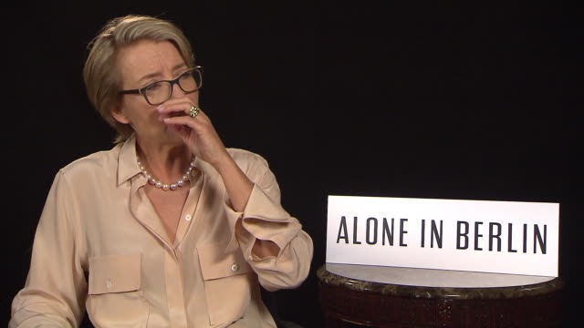 interview emma thompson on protest at 'alone in berlin' interviews 66th berlin international film festival on february 16 2016 in berlin germany - emma thompson stock videos and b-roll footage