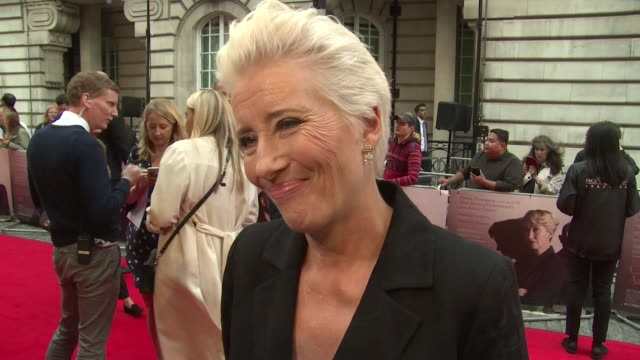emma thompson on stanley tucci her character and the film genre at the curzon mayfair on august 16 2018 in london england - emma thompson stock videos & royalty-free footage