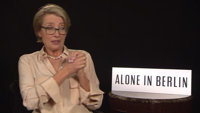interview emma thompson on the film being about a very long relationship at 'alone in berlin' interviews 66th berlin international film festival on... - emma thompson stock videos & royalty-free footage