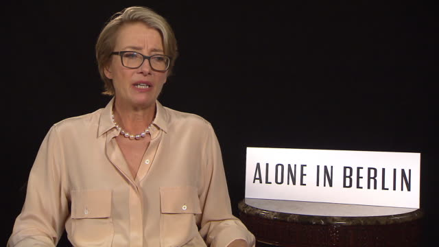 interview emma thompson on the meaning of the film at 'alone in berlin' interviews 66th berlin international film festival on february 16 2016 in... - emma thompson stock videos and b-roll footage