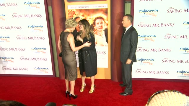 emma thompson rita wilson tom hanks at saving mr banks los angeles premiere in burbank ca on 12/9/2013 - emma thompson stock videos and b-roll footage
