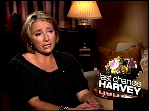 emma thompson talks about director joel hopkins allowing the actors to flow and improvise at the 'last chance harvey' junket at new york ny - joel hopkins video stock e b–roll
