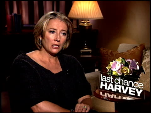 emma thompson talks about the film's message and how she agrees it's never too late to find love and be reinspired at the 'last chance harvey' junket... - emma thompson stock videos & royalty-free footage