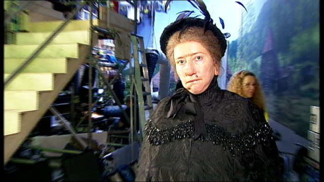 emma thompson towards on film set wearing 'nanny mcphee' costume and saying to camera don't pirate our work it's very naughty sot - emma thompson stock videos & royalty-free footage