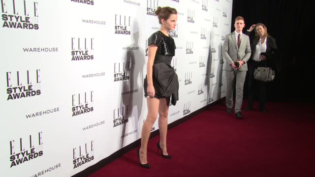 emma watson at elle style awards arrivals at one embankment on february 18 2014 in london england - embankment stock videos and b-roll footage
