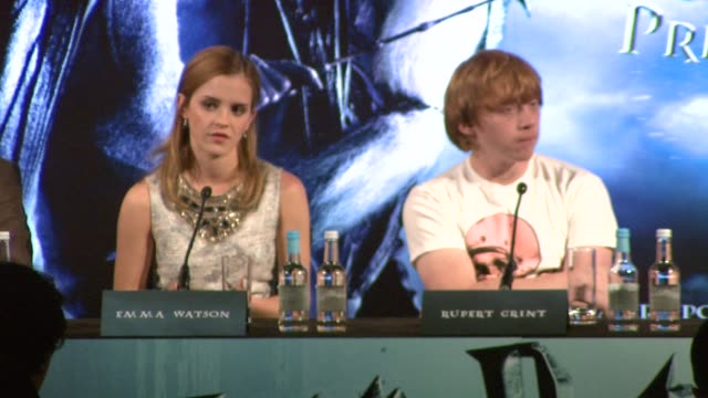 emma watson on her relationship with jk rowling at the harry potter and the halfblood prince press conferences at london england - j.k. rowling stock videos and b-roll footage