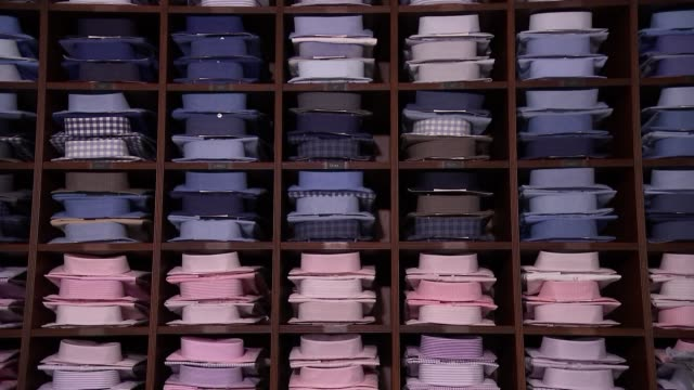 emma willis tailors make bespoke shirts for injured service personnel england london jermyn street int bow tie on mannequin / shirts on shelves /... - shirt and tie stock videos & royalty-free footage