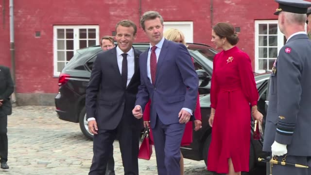 emmanuel macron and his wife brigitte on a state visit to denmark are welcomed by crown prince fredrik of denmark and his wife mary at the citadel in... - oresund region stock videos & royalty-free footage