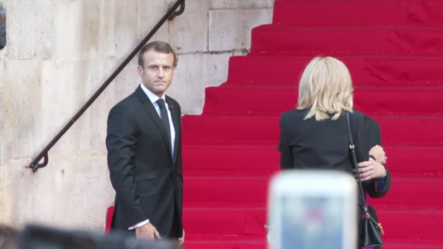 emmanuel macron arrives to attend a church service for former french president jacques chirac at the saint-sulpice church in paris on september 30,... - president stock videos & royalty-free footage