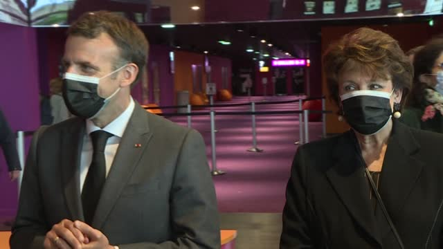 """emmanuel macron visits nevers with culture minister roselyne bachelot to mark the reopening of cultural venues and the return """"to a little bit of... - roselyne bachelot stock videos & royalty-free footage"""