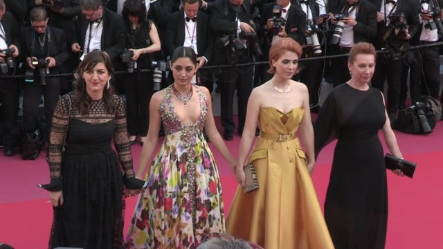 emmanuelle bercot eva husson golshifteh farahani thierry fremaux and didar domehri on the red carpet for the premiere of les filles du soleil at the... - 71st international cannes film festival stock videos & royalty-free footage