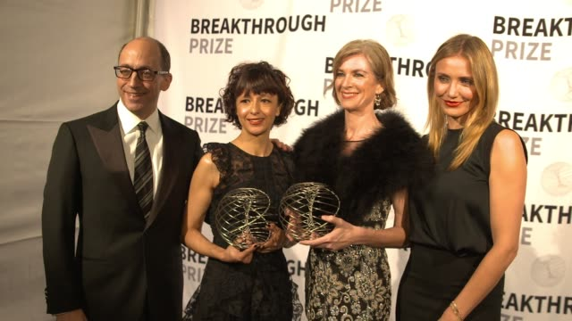 Emmanuelle Charpentier Jennifer Doudna and Cameron Diaz at 2nd Annual Breakthrough Prize Award Ceremony on November 09 2014 in Mountain View...
