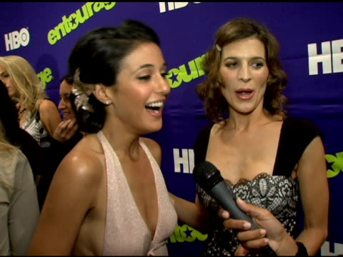 emmanuelle chriqui on how much fun she has on the set and her role in the upcoming season at the 'entourage' third season new york premiere at... - performing arts center stock videos & royalty-free footage
