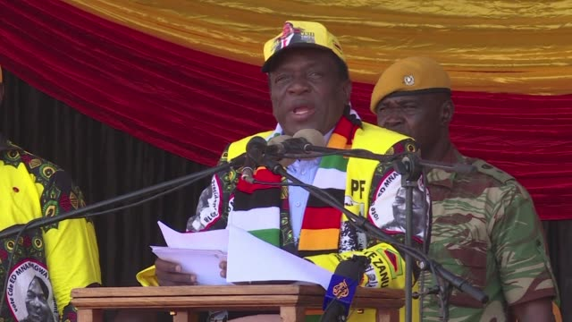 emmerson mnangagwa leader of the zanu pf party expresses confidence in his party's ability to win the historic presidential election in zimbabwe - zimbabwe stock videos & royalty-free footage