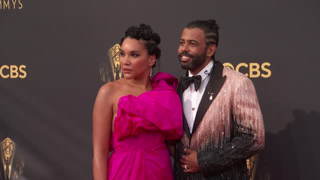 emmy raver-lampman and daveed diggs arrive to the 73rd annual primetime emmy awards at l.a. live on september 19, 2021 in los angeles, california. - emmy awards stock videos & royalty-free footage