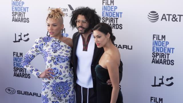 Emmy RaverLampman Daveed Diggs and Janina Gavankar at the 2019 Film Independent Spirit Awards on February 23 2019 in Santa Monica California