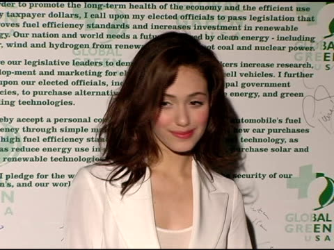 vídeos de stock, filmes e b-roll de emmy rossum at the clean energy solutions music at 'rock the earth' with hollywood stars joining global green at day after club in hollywood... - emmy rossum