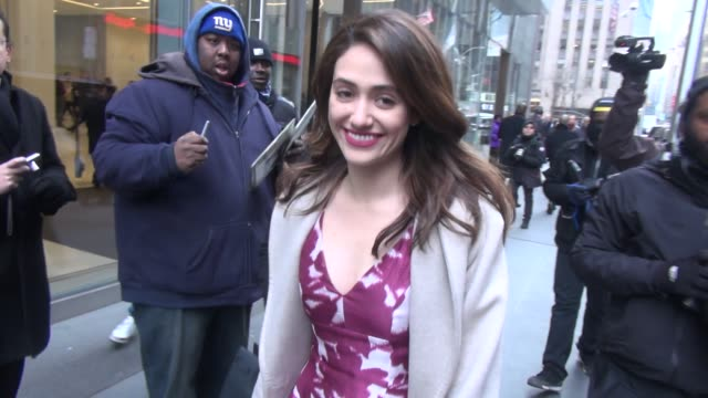 Emmy Rossum leaving SiriusXM Satellite Radio at Celebrity Sightings in New York on January 07 2016 in New York City