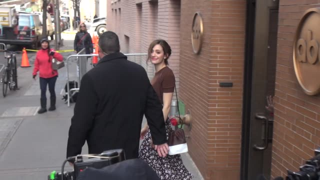 "vídeos de stock, filmes e b-roll de emmy rossum leaving ""the view"" show in celebrity sightings in new york - emmy rossum"