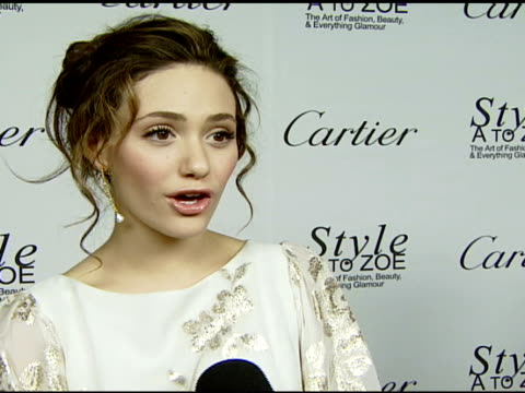 emmy rossum on the event and rachel zoe styling and fashion tip at the cartier celebrates the book launch of style a to zoe the art of fashion beauty... - rachel zoe stylist stock videos & royalty-free footage