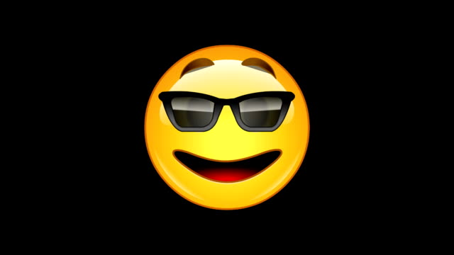 4 emojis - pack 2 of 6  - animated -  loopable - alpha channel - sunglasses stock videos & royalty-free footage