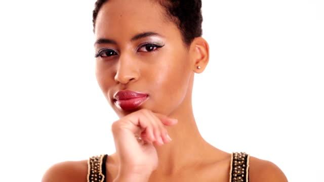 Emotive beautiful african woman