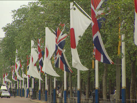 emperor akihito visit to uk; itn england: london: the mall: japanese flag waving in breeze gv british and japanese flags flying alternately from... - 日本の皇室点の映像素材/bロール