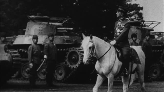 emperor hirohito of japan reviews his forces and troops / japan - anno 1941 video stock e b–roll