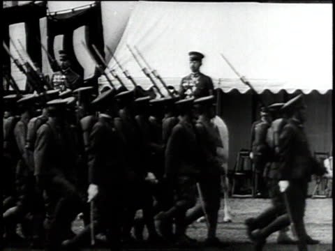 emperor hirohito on his white horse reviewing troops / soldiers goosestepping - axis powers stock videos & royalty-free footage