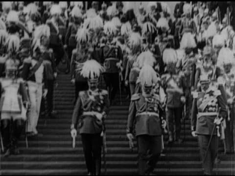 emperor king of prussia kaiser wilhelm ii walking w/ others in uniform down steps ls kaiser wilhelm ii walking down steps ws wilhelm ii reviewing... - erster weltkrieg stock-videos und b-roll-filmmaterial