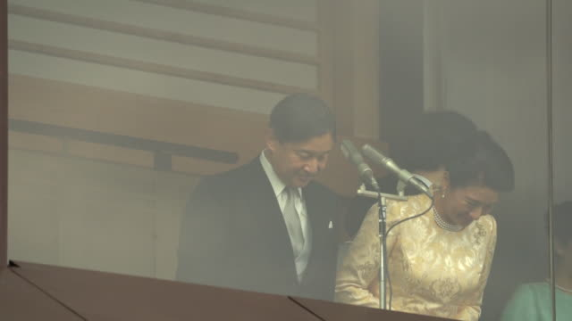 emperor naruhito's first new year greeting ceremony in tokyo, japan on thursday, january 2, 2020. - 天皇点の映像素材/bロール