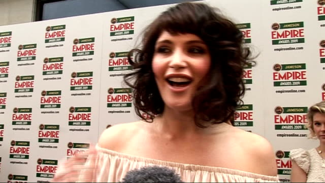 Empire Film Awards 2009 Gemma Arterton interview SOT on how she still feels like a newcomer sizing up her competition kissing Jake Gyllenhaal and...