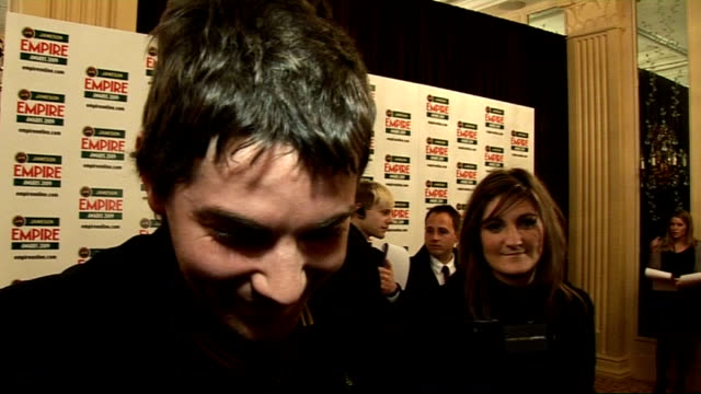 empire film awards 2009; jim sturgess interview sot - how he was relieved not to win so he didn't have to follow the comedian dara o'briain - how... - dara o'briain stock videos & royalty-free footage