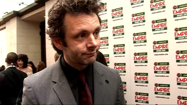 empire film awards 2009 michael sheen interview sot on his designer stubble who he's rooting for how he'd love to be a bond baddie playing blair... - stubble stock videos & royalty-free footage