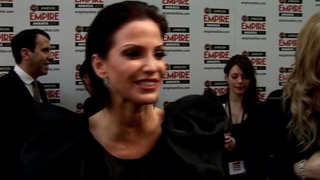 celebrity arrivals / winner's room interviews Sarah Harding speaking to press PAN DOWN to shoes Sarah Harding interview SOT On her outift / hopes...