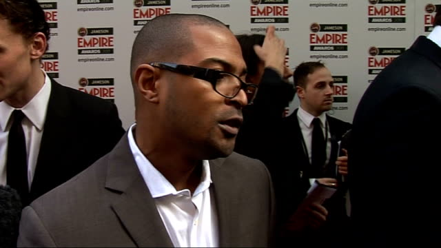 celebrity arrivals / winner's room interviews Noel Clarke interview SOT On presenting the best actress award / his favourite movie this year / The...