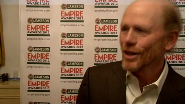 red carpet arrivals / winners room Ron Howard posing with award / Ron Howard interview SOT / Michael Fassbender posing with award / Michael...