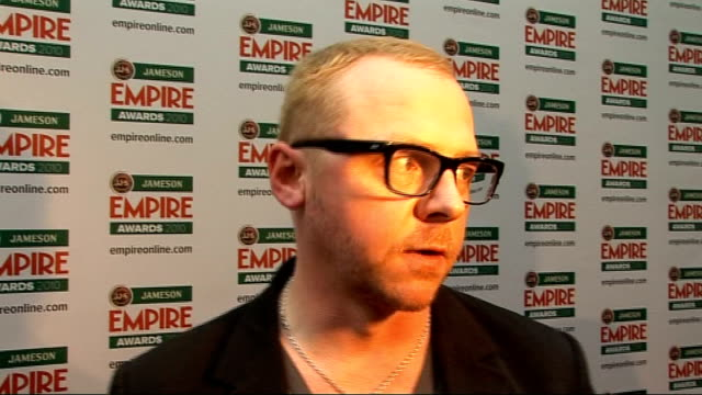 empire film awards in london; pegg talking to other press sot pegg interview sot - on the empire awards being voted for by the public / on how... - science fiction film stock videos & royalty-free footage