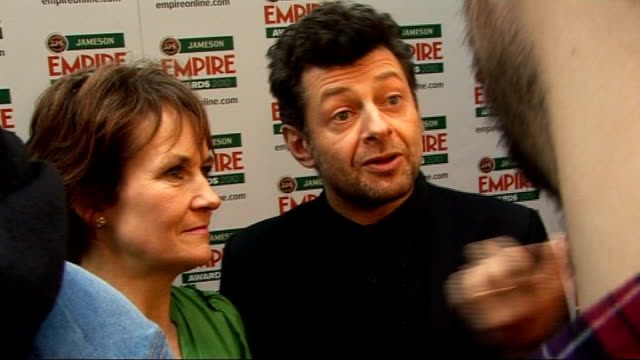 empire film awards in london serkis interview sot on how well received 'sex drugs and rock and roll' was / will become a cult film like '24 hour... - steven spielberg stock videos & royalty-free footage
