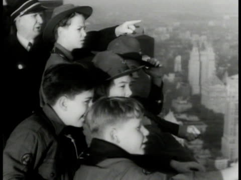 Empire State Building MS Boy Scouts on observation deck roof HA WS Midtown Manhattan New York City skyscrapers Central Park MS Scouts watching