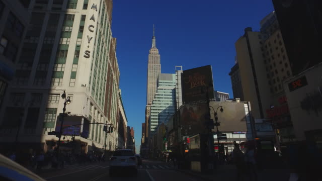 empire state building from street level - 34th street stock videos & royalty-free footage