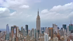 AERIAL Empire State Building with Manhattan