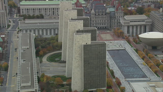aerial empire state plaza and corning tower / albany, new york, united states - albany new york state stock videos & royalty-free footage