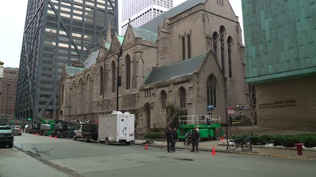 vidéos et rushes de empire tv show filming in chicago at fourth presbyterian church on february 14, 2019. - équipement audiovisuel