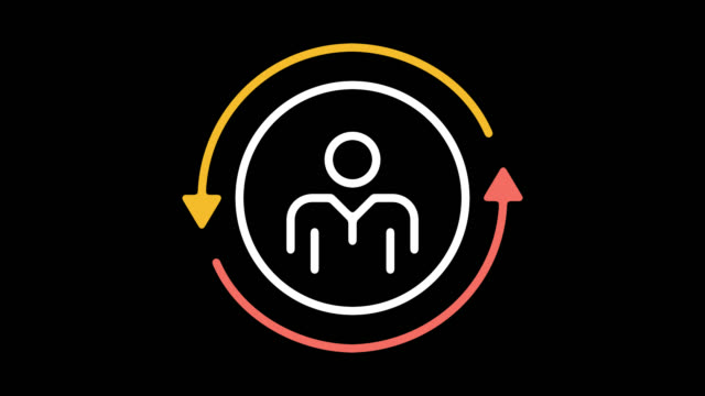 employee turnover rate line icon animation with alpha - organisation stock videos & royalty-free footage
