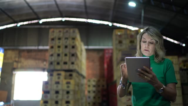 employee walking and using digital tablet at warehouse - distribution warehouse stock videos & royalty-free footage