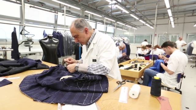 employees hand sew jackets in the sewing room of cesare attolini spa workshop in naples italy on friday april 22 2016 - tailor stock videos & royalty-free footage